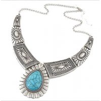 N1605 - Water droplets large gem necklace