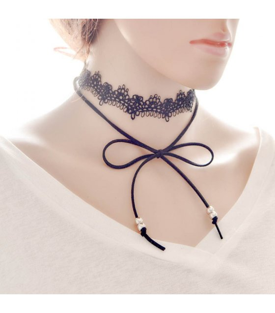 N1644 - Black Lace Necklace