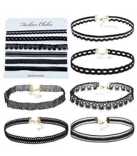 N1658 - Black Choker Necklace Set