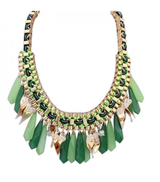N1672 - Green Droplet Necklace