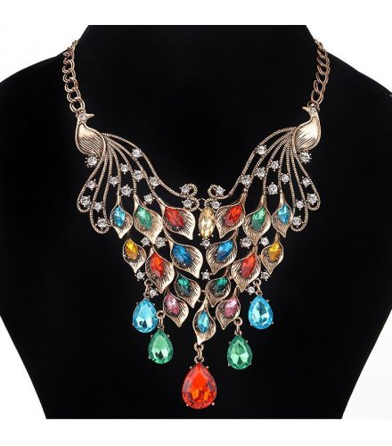 N1760 - Double peacock Necklace