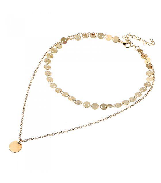N1779 - Sequined multi-layer pendant necklace