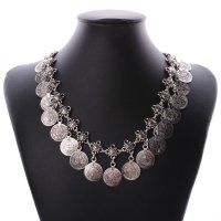 N1789 - Retro carved alloy coins tassel necklace