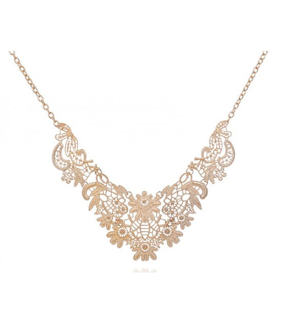 N1793 - Carved hollow flower Necklace