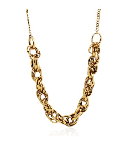 N1800 - Metal twist big chain retro Necklace