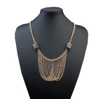 N1807 - Clavicle box tassel necklace