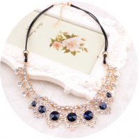 N1822 - Drop sapphire leather necklace