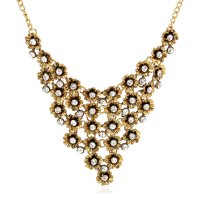 N1825 - Multi-layered flower diamond Necklace