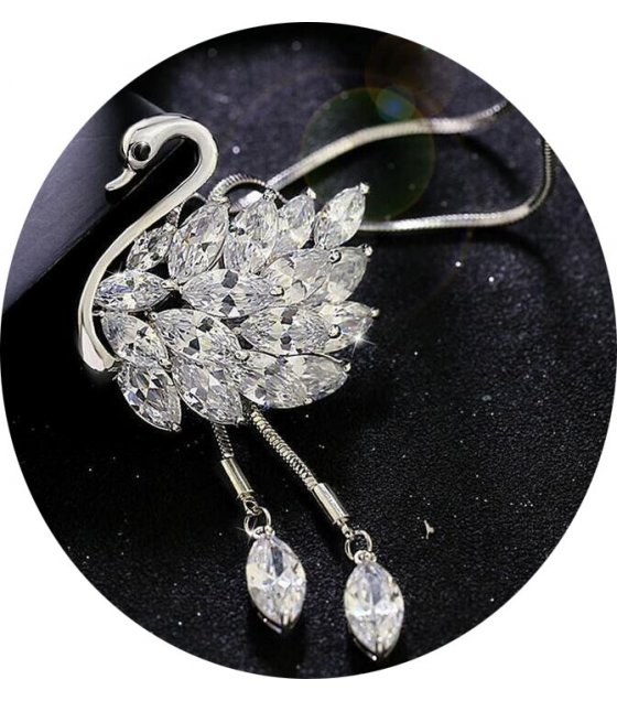 N1870 - Zircon swan long necklace chain
