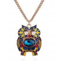 N1897 - Retro personality color drop oil owl necklace