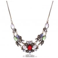 N1910 - Large gem flower necklace