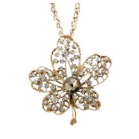 N192 - golden leaves gem diamond pendant sweater chain