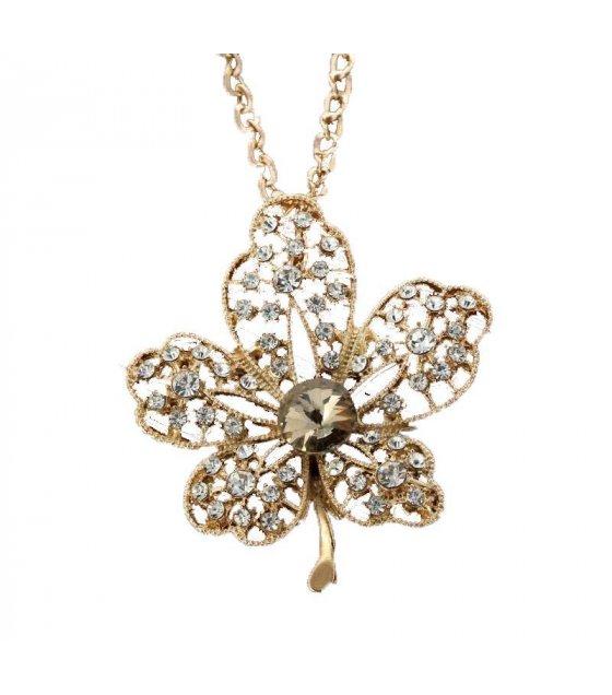 N192 - golden leaves gem diamond pendant sweater chain