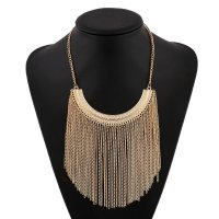 N1920 - Leaves tassel necklace