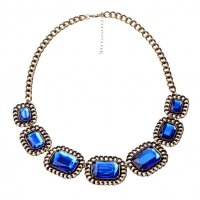 N1922 - Retro hollow square acrylic gemstone Necklace