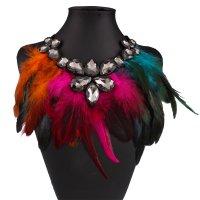 N1932 - Multicolor Feather Diamond Necklace