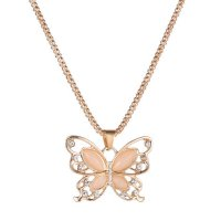 N1967 - Korean exquisite opal stone hollow butterfly necklace