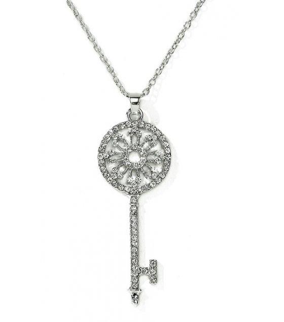 N1973 - Diamond garland key necklace