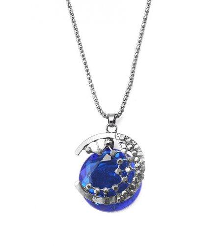 N1974 - Gem moon long necklace
