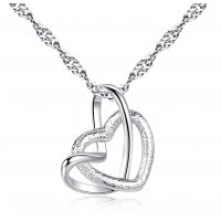 N1980 - Double heart pendant necklace