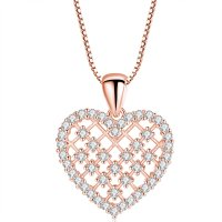 N1984 - Inlaid zircon love necklace