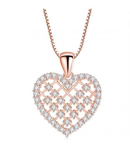 N1984 - Inlaid zircon love necklace