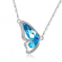 N1986 - Diamond crystal butterfly wings necklace