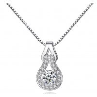 N1989 - Platinum plated inlaid zircon pendant