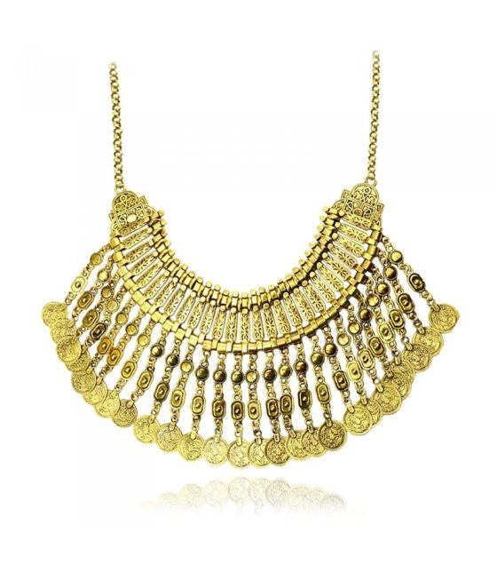 N1991 - Retro tassel coin necklace