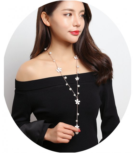 N2026 - Imitation pearl flower Necklace