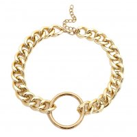 N2037 - Golden Circular Pendant Necklace