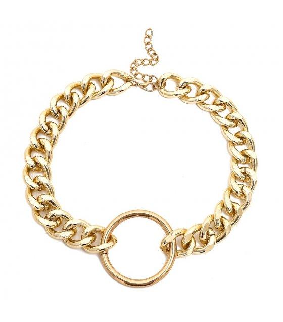 N2037 - Golden Circular Pendant Necklace