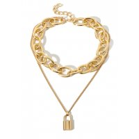 N2038 - Golden Lock Necklace