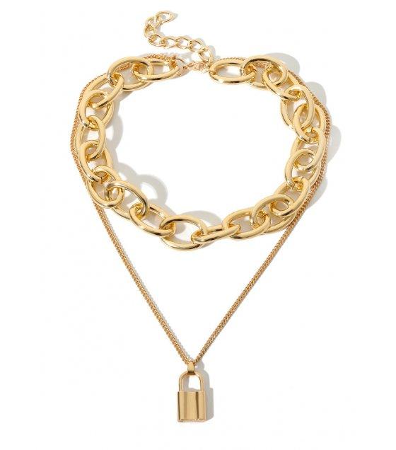 N2038 - Golden Lock Necklace