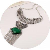 N2073 - Green Long Tassel Chunky Necklace