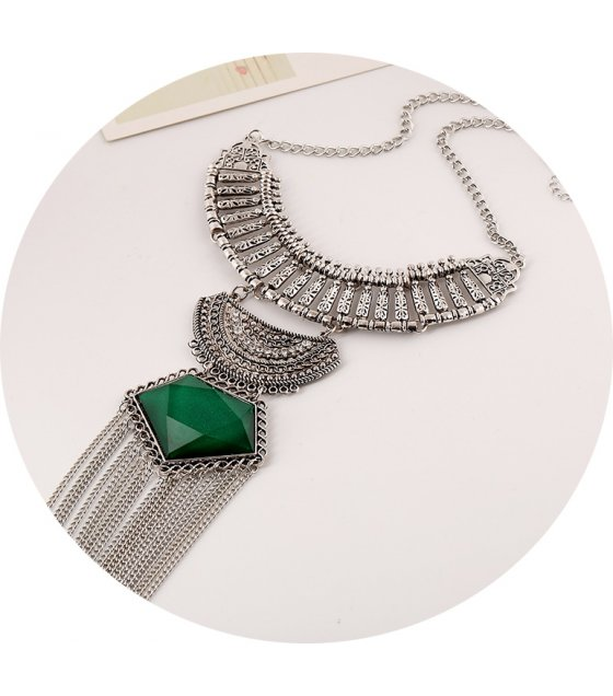 N2073 - Green Long Tassel Chunky Necklace