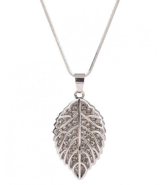 N2080 - Leaves long sweater chain necklace