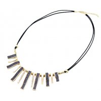 N2091 - Diamond-encrusted geometric Necklace