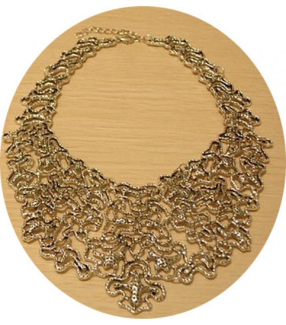 N2092 - Simple fresh retro palace hollow metal necklace
