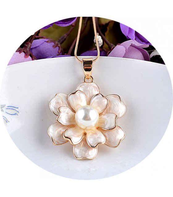 N2103 - Drop oil white rose flower pearl necklace