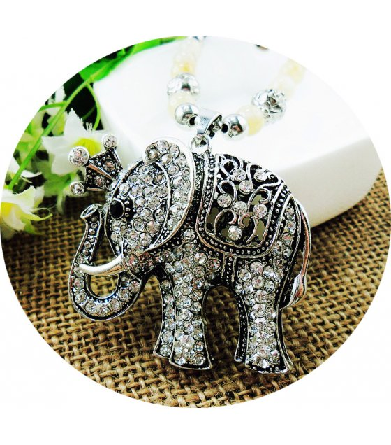 N2104 - Ancient silver elephant sweater chain