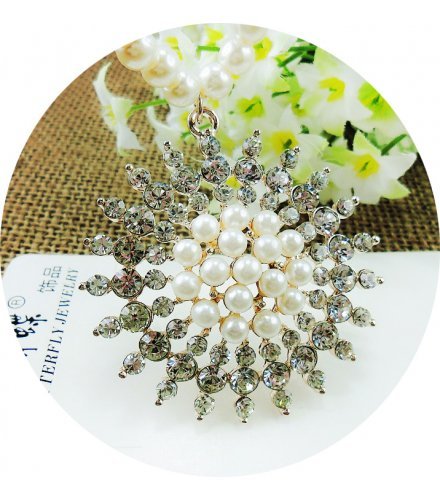 N2106 - Diamond flower ring long sweater chain