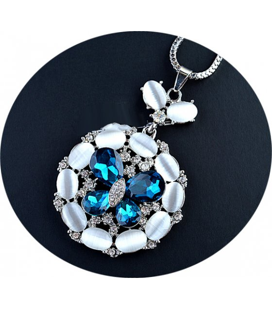 N2109 - Opal butterfly round sweater chain