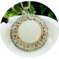 N2110 - Jade carved round pendant sweater chain