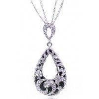 N2121 - Retro wild water drop hollow long necklace