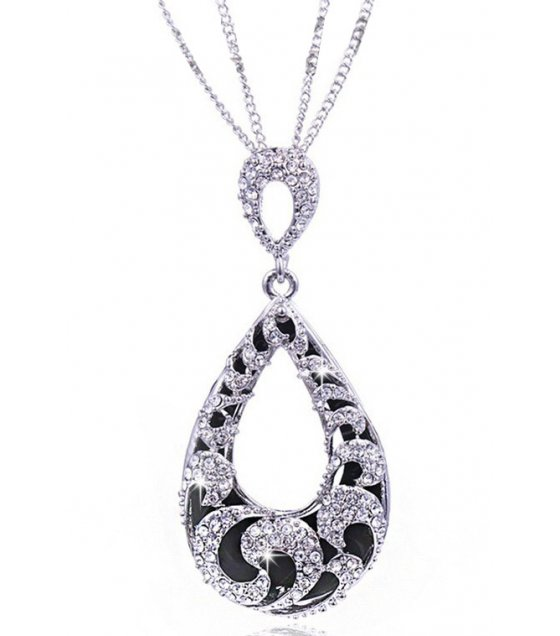 N2121 - Retro wild water drop hollow long necklace