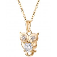 N2126 - Cute little owl zircon necklace