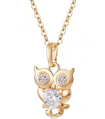 N2126 - Cute little owl zircon necklace