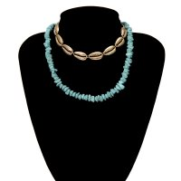 N2134 - Geometric stone pine necklace