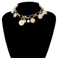 N2135 - Imitation pearl coin embossed necklace